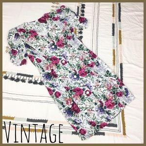 [ Vintage ] Floral Botanical Button Down Dress M